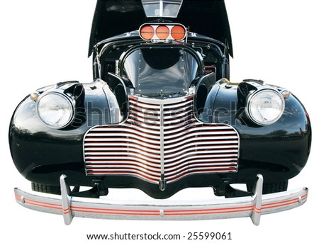 front view of antique automobile with hood up with clipping path