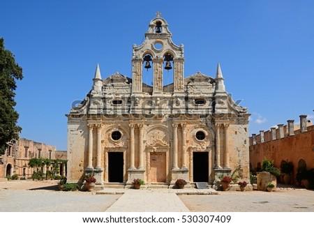 Front view of Arkadi Monastery, Arkadi, Crete, Greece, Europe. #530307409