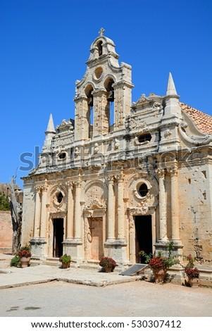 Front view of Arkadi Monastery, Arkadi, Crete, Greece, Europe. #530307412