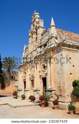 Front view of Arkadi Monastery, Arkadi, Crete, Greece, Europe. #530307439