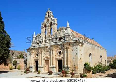 Front view of Arkadi Monastery, Arkadi, Crete, Greece, Europe. #530307457