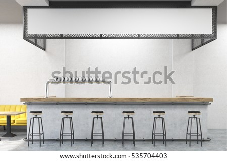 Front view of bar stand with stools, a yellow sofa and small wooden tables. Concrete wall. Concept of eating out. 3d rendering. Mock up