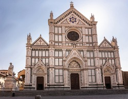 Front view of basilica di santa croce  and empty piazza di santa croce, a famous tourist attraction in Florence (Firenze), Italy
