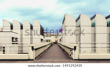Photo of  Front view of Bauhaus building at Berlin Germany on a cloudy day at an eye angle view.