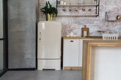 Front view of beige color vintage fridge in loft style kitchen