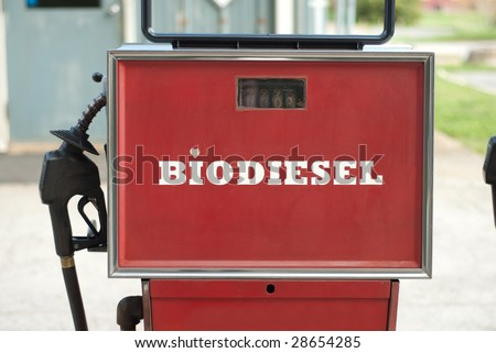 front view of bio diesel pump with a heart dotting the i in the word biodiesel - stock photo