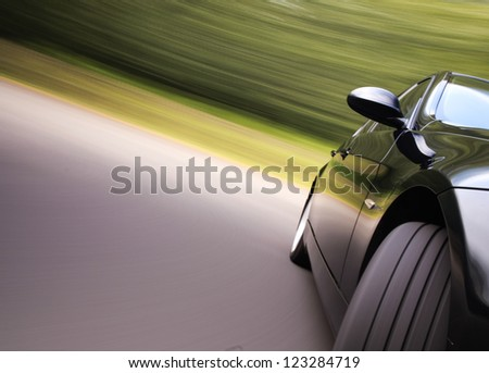 Front view of black car in turn #123284719