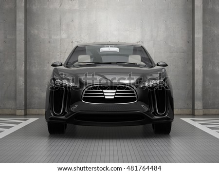 Front view of black electric SUV in parking garage. 3D rendering image.