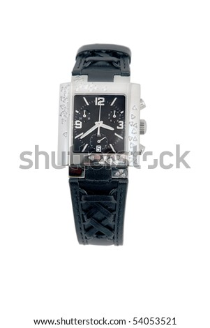 front view of black leather and white gold watch