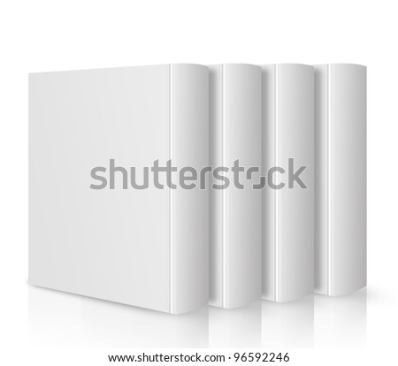 front view of Blank book cover white .