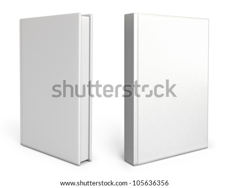 Front view of Blank book cover white. White background. 3d render