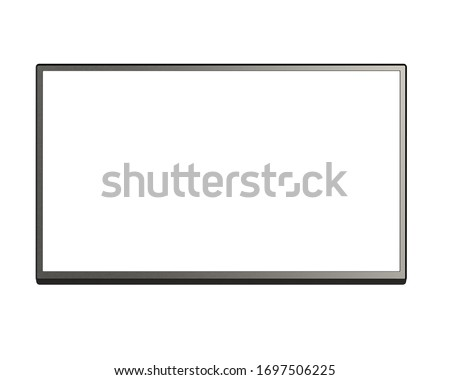 Front View of Blank LCD, LCM, LED or TFT TV Panel with Metallic Surface Isolated on White Background. Realistic 3D Render of White Modern Sleek Screen.