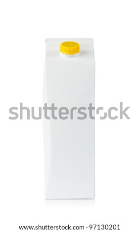 Front view of blank milk box isolated on white background