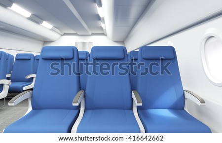 Front view of blue seats in bright airplane interior. 3D Rendering