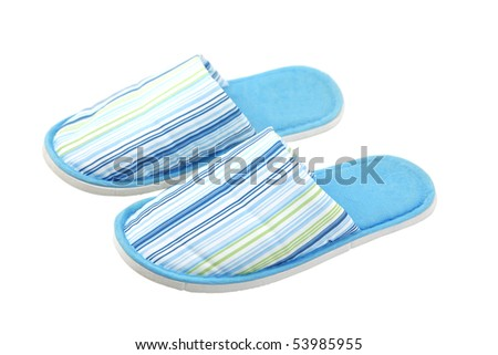 front view of blue textile unisex slippers