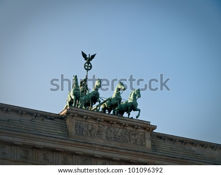 Front View of Brandenburg Gate Quadriga Chariot Statue with Sky Copyspace