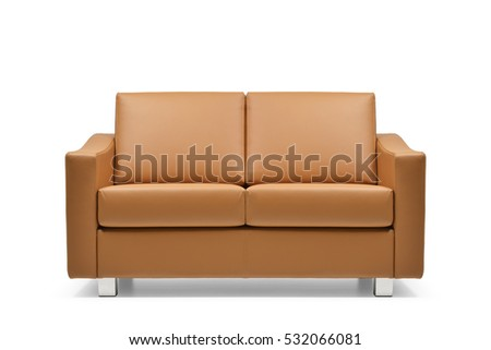 Front view of Brown leather sofa  isolated on white background #532066081
