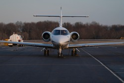 Front view of business jet