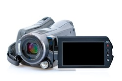 Front view of camcorder with view screen, isolated on white background
