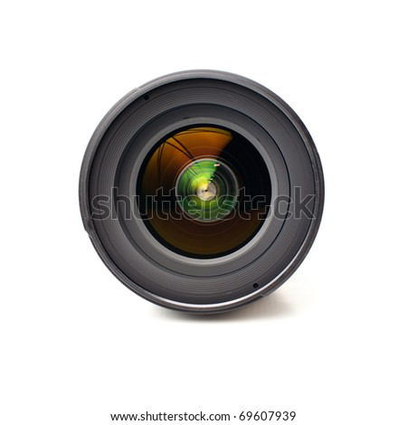 Front view of camera lens isolated on white background