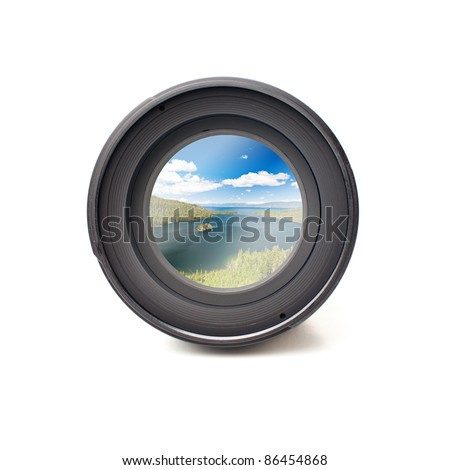 Front view of camera lens with ocean landscape image reflection