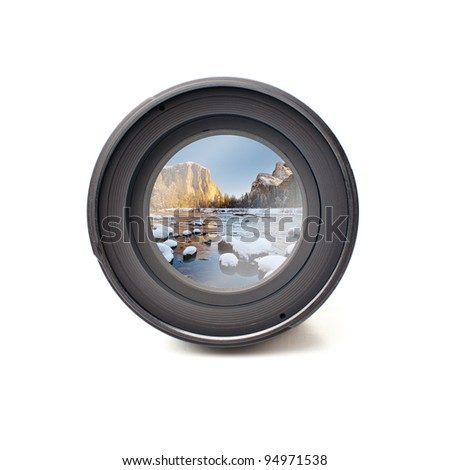 Front view of camera lens with Yosemite national park image reflection