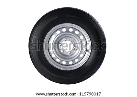 Front view of car wheel isolated on white