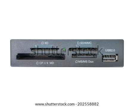 Front view of card reader and USB port to built in computer system unit.isolated on white background