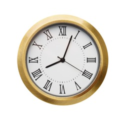 Front view of  classic bronze clock isolated on white