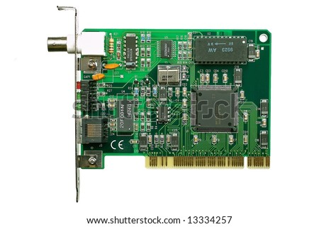 Front view of computer modem card, isolated on white background