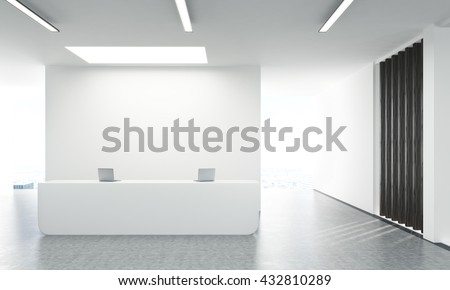 Shutterstock Front view of concrete office lobby with laptops on white reception stand and blank wall behind. 3D Rendering