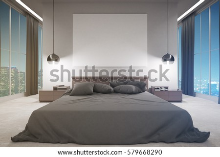 Front view of contemporary bedroom interior with furniture, blank whiteboard and night city view. Mock up, 3D Rendering #579668290