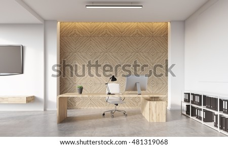 Front view of director's office with computer on it, bookshelves on concrete floor and tv set hanging on white wall. Concept of good place to work. 3d rendering
