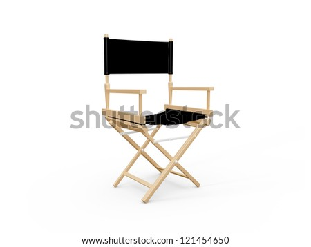Front view of directors chair in film industry, isolated on white background.