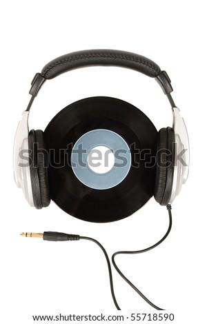 front view of dj headphones and vintage vinyl