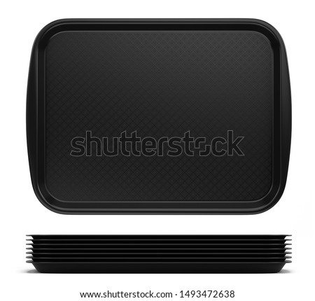 Front view of Empty Black Plastic Tray salver with Handles Isolated On White. 3d rendering