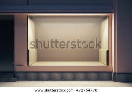 Front view of empty clean showcase at night. Mock up, 3D Rendering