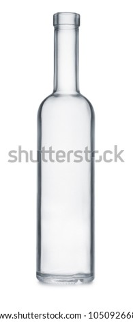 Front view of empty clear glass bottle isolated on white