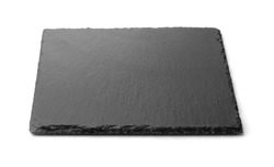 Front view of empty slate black stone plate isolated