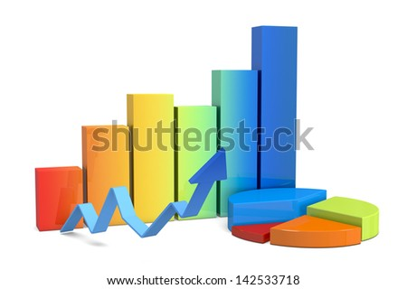 front view of financial charts (3d render)