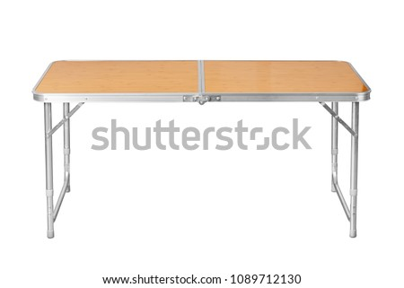 Front view of folding camping table isolated on white