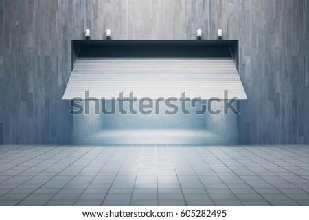 Front view of garage with opening door. 3D Rendering