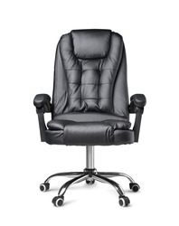 Front view of Genuine Leather office chair for Executive Officer, isolated on white background.