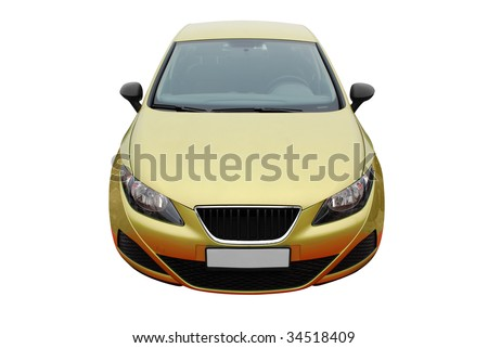front view of gold car isolated