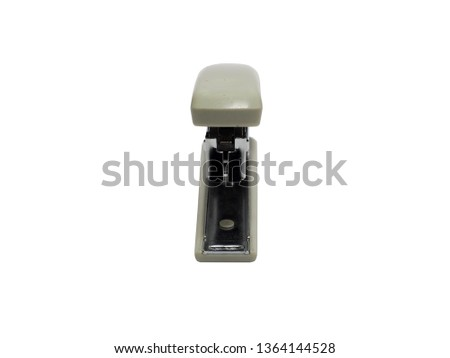 front view of gray stapler of office stationery isolated on white background