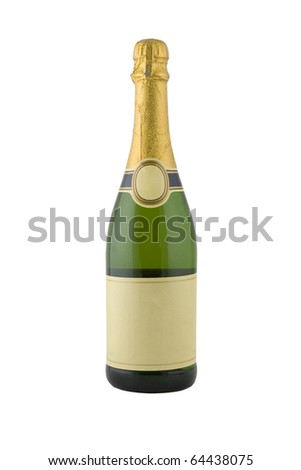 front view of green bottle of champagne - stock photo