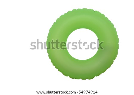 front view of green rubber ring for swimming pool