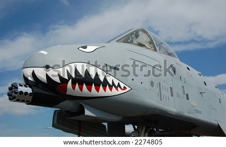 Front view of ground attack jetfighter A-10 Thunderbolt