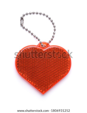 Front view of heart shaped safety reflector isolated on white Stock fotó ©
