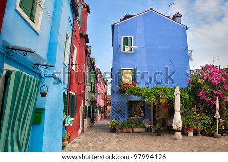 Front view of Home with garden / Old European Houses in the street  / Italy